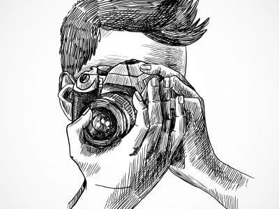 Photographer with digital photo camera sketch portrait vector illustration